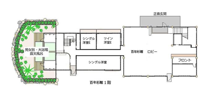 館内案内図 百年杉館1階